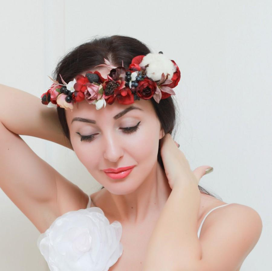 Ready To Ship Burgundy Flower Crown Winter Floral Crown Hair Wreath
