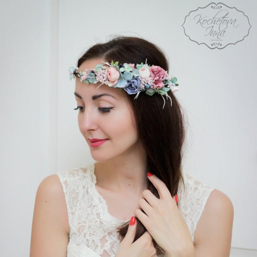 Mariage - Wedding flower crown Flower halo Flower crown Bridal floral crown Flower headband Bridesmaid flower crown  Floral crown Boho floral crown