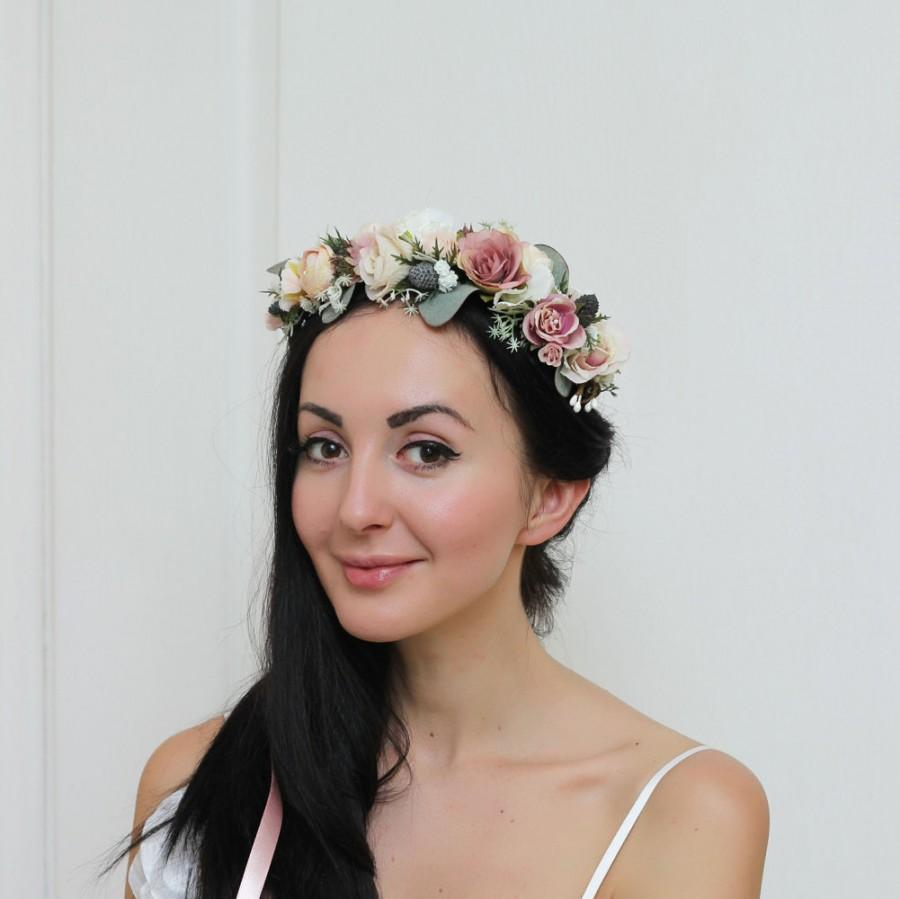 Mariage - Beige rose eucalyptus flower crown Floral crown Boho wedding Flower headpiece Bridal flower crown Wedding hair wreath Girl flower crown