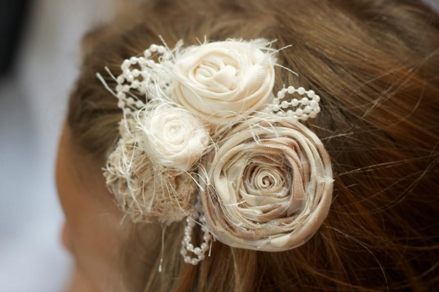 Mariage - vintage wedding flower hair piece beige cream ivory pearls beads photo prop easter hair clip fabric flower children newborn flower girl