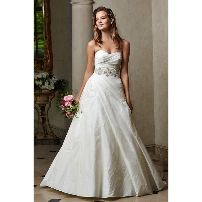 Wedding - WTOO 14414 Virginia Draped Pearl Belted A-Line Asymmetrical Ruching - A Line Wedding Long WTOO Strapless, Sweetheart Dress - 2017 New Wedding Dresses