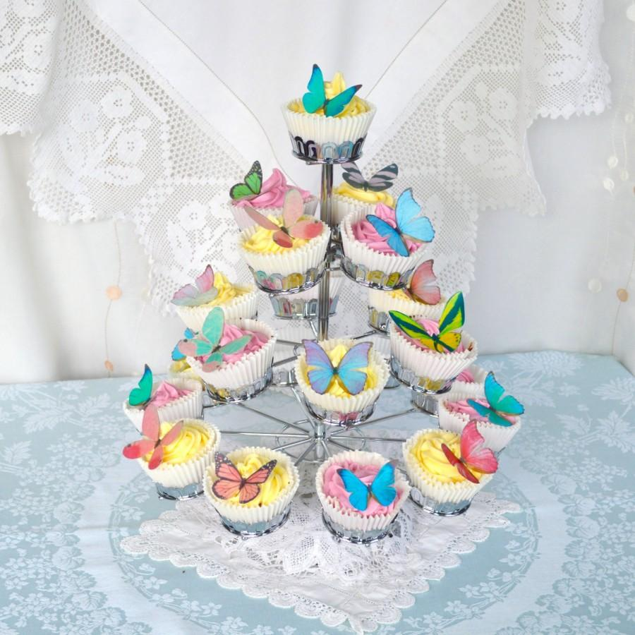 Wedding - Edible Butterflies Multicoloured Wafer Rice Paper Mixed Rainbow 3D Butterfly Wedding Cake Decorations Birthday Party Cupcake Cookie Toppers