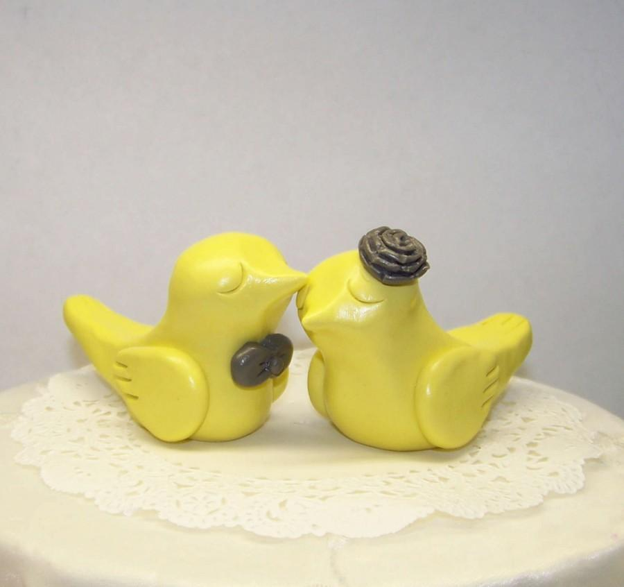 Bird Wedding Cake Topper - Elegant Pale Yellow And Grey - Choice Of ...