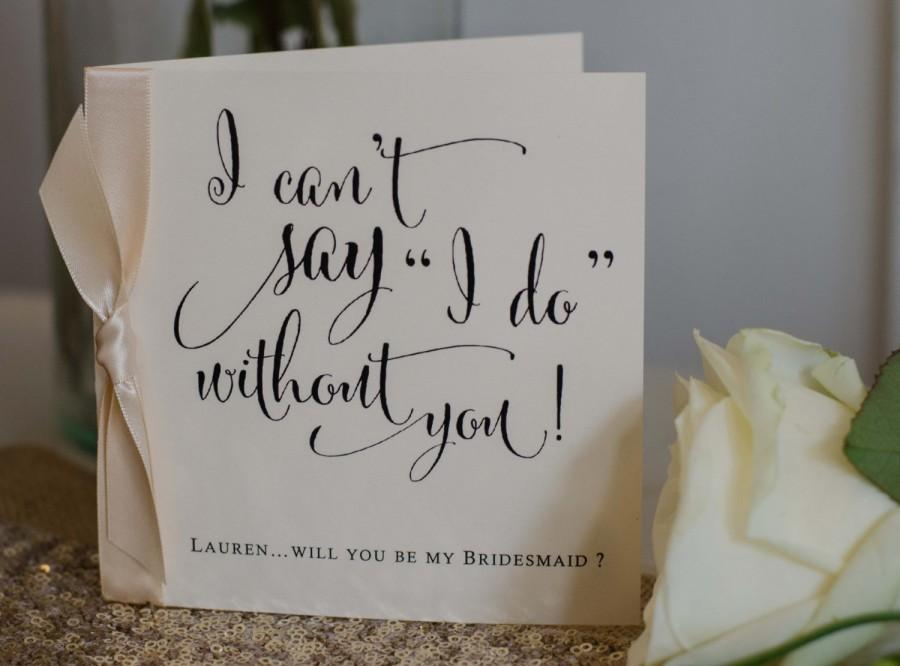 Hochzeit - Personalised Vintage/Rustic/Shabby Chic 'Will you be my Bridesmaid?' Card with ribbon knot