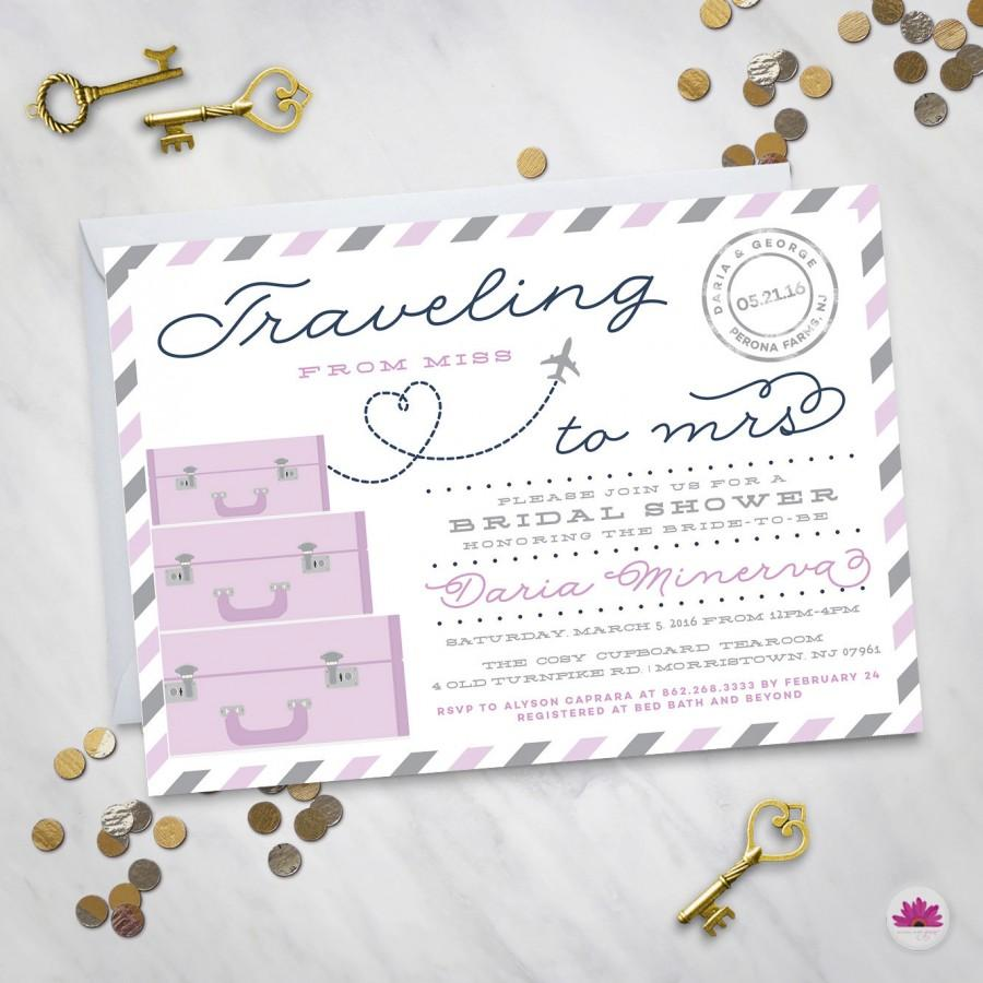 Wedding - Traveling from Miss to Mrs.– Bridal Shower Invitation (Digital file)