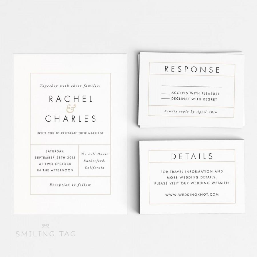 Hochzeit - Wedding Invitation Printable Suite Printable - Modern Minimalist Printable Invitation PDF Download - Letter or A4 Size (Item code: P107)
