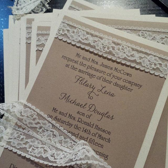 Hochzeit - Burlap look lace wedding invitation