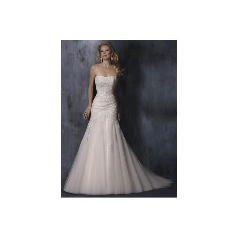 Wedding - Mellifluous Strapless Applique Beads Working Tulle Chapel Train Satin Wedding Dress for Brides In Canada Wedding Dress Prices - dressosity.com