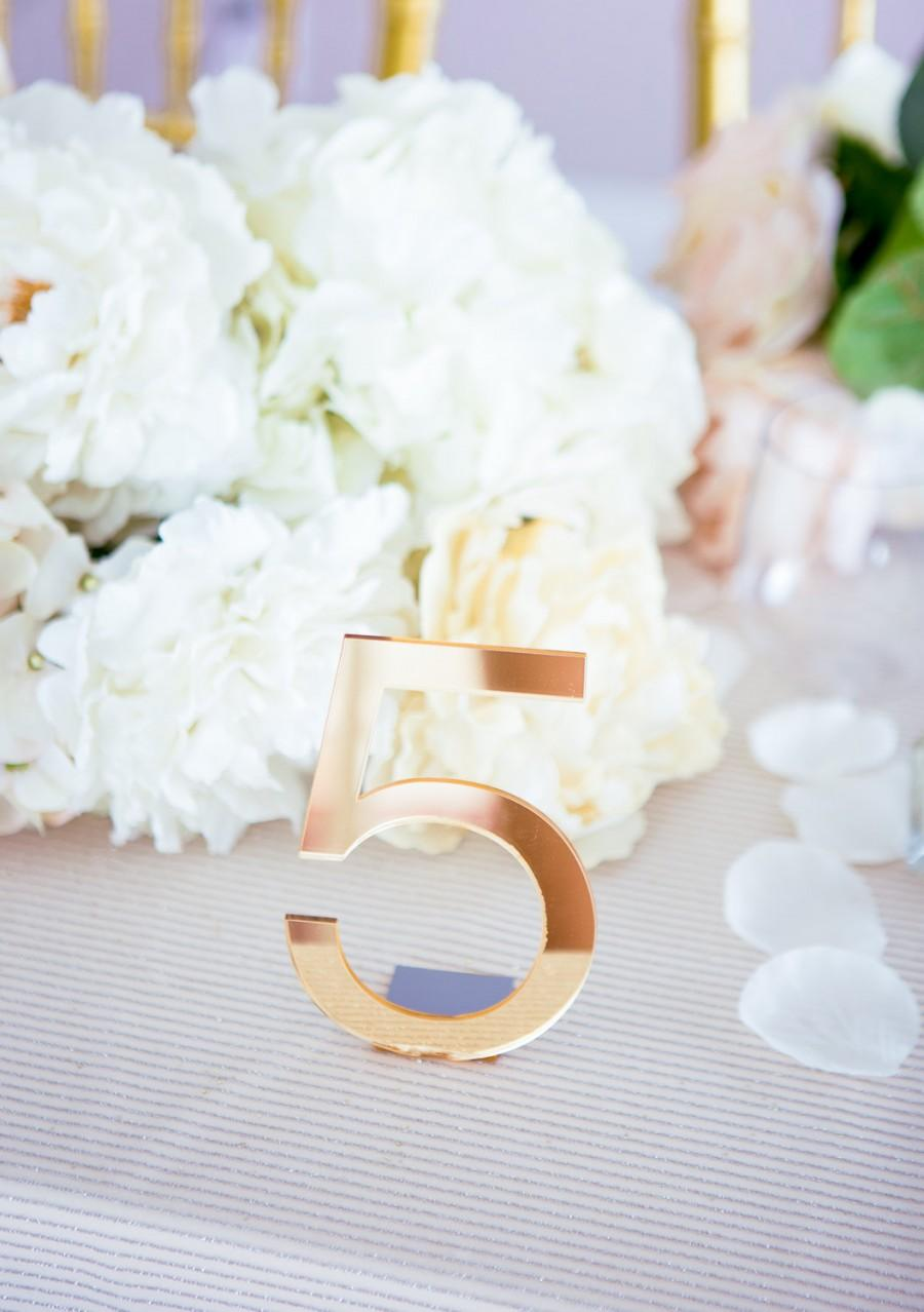 Wedding - Acrylic Wedding Table Numbers for Events - Freestanding Numbers Acrylic Gold Silver or Clear Wedding Decor Table Centerpiece (Item - ACB100)