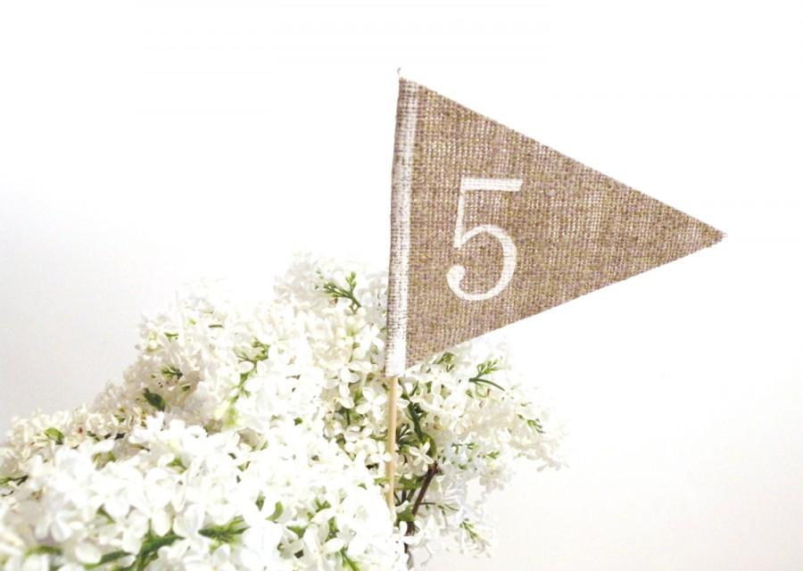 Wedding - Rustic Wedding Table number rustic table number burlap table numbers , table number flag rustic table decor personalized wedding centerpiece