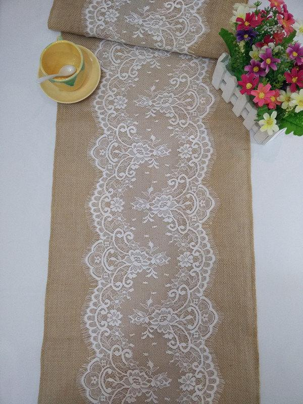 Wedding - Burlap Table Runner with Lace, Lace Table Runners, Custom Table Runners, Jute Table Runner, Wedding Party  Decor