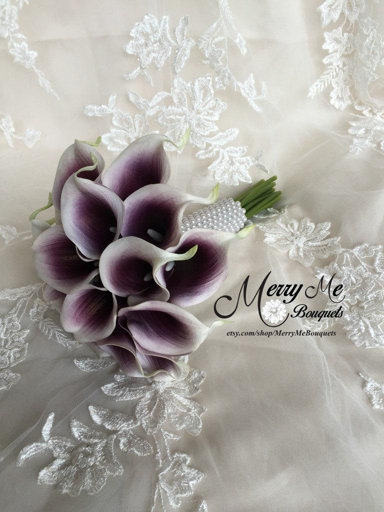 Свадьба - True Touch Picasso Lily Bouquet , Real Touch Calla Lily Bouquet , Picasso Lily Bouquet , Purple and White Calla Lilies , Eggplant Bouquet