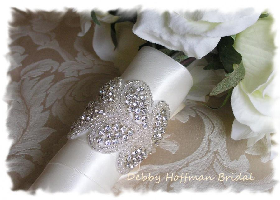 Свадьба - Rhinestone Crystal Bridal Bouquet Wrap, Beaded Crystal Wedding Bouquet Wrap, Jeweled Bouquet Cuff, Bridal Cuff Bracelet, No. 3040BW