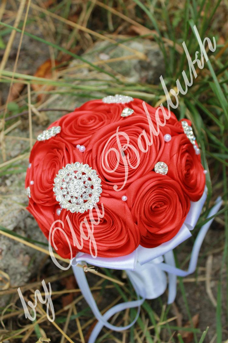 Свадьба - Wedding brooch bouquet- Alternative bouquet - bridal wedding bouquet - handmade bouquet - rose wedding bouquet - bridal accessories