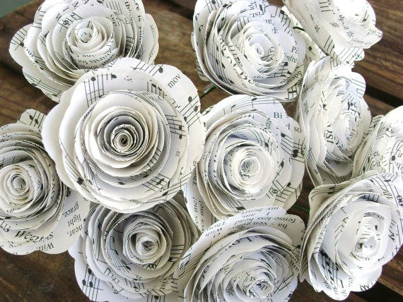 Свадьба - one dozen 12 vintage 2 inch size  hymnal sheet music spiral paper roses bouquet for weddings and home decor or holiday