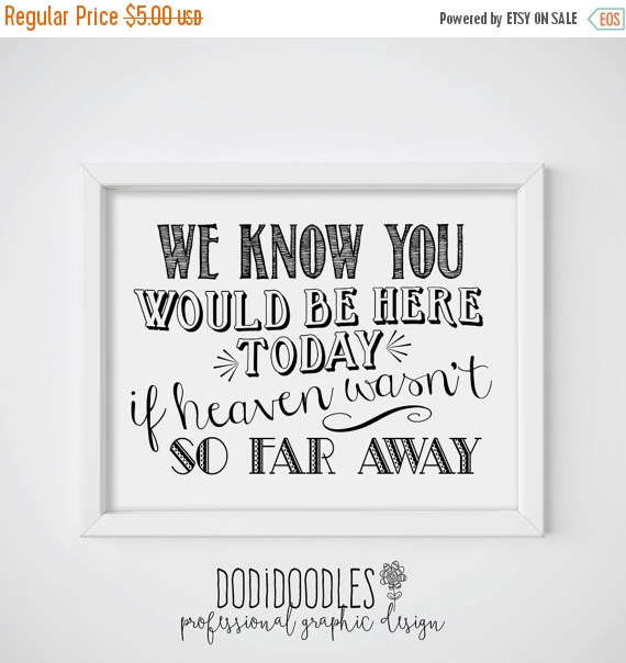 Свадьба - 70% OFF THRU 2/4 We Know You Would Be Here Today If Heaven Wasn't So Far Away, 8x10 Memorial Memory Sign, Wedding Sign, Black and White