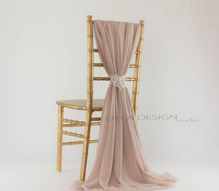 New Spring 16 Chiffon Chair Cover Sash Nude Mocha Wedding Chair