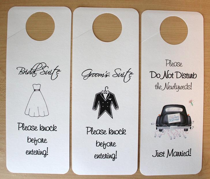 Mariage - Set of 3 Suite Door Hangers - Standard Design