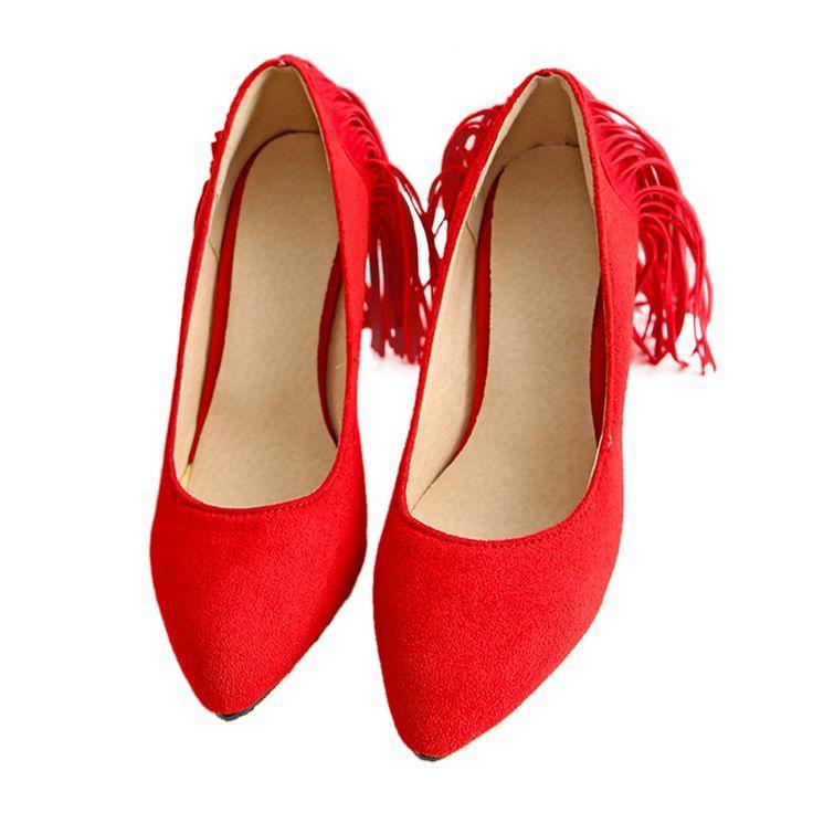 زفاف - Tassel High Heel Women Thin Shoes Fluff Low-cut Wedding Shoes Plus Size Red 35