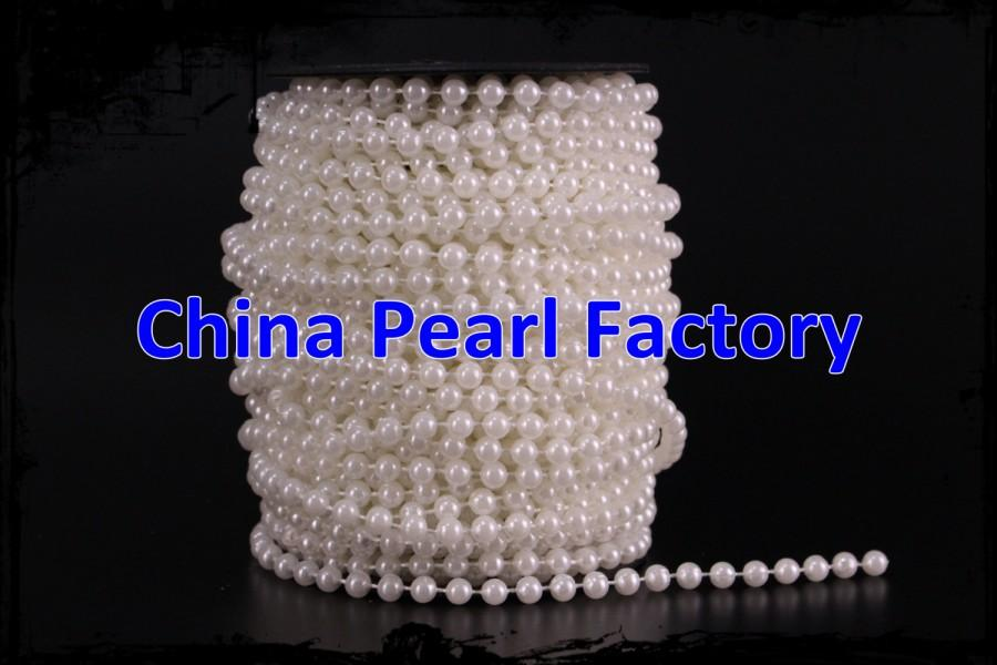 Mariage - 35Meter/Roll 6MM White Diy Craft 6mm Faux Fused Pearl Bead Garland String Chain Wedding DIY Decorations Garland