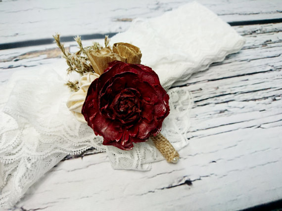 Wedding - Cream brown burgundy rustic wedding Rustic BOUTONNIERE / CORSAGE groom groomsman, Sola Flower cedar rose dried limonium Wedding Flowers