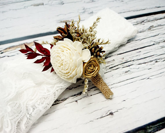 Mariage - Cream brown gold burgundy rustic wedding BOUTONNIERE CORSAGE groom groomsman, Sola Flower, pine cone dried limonium custom