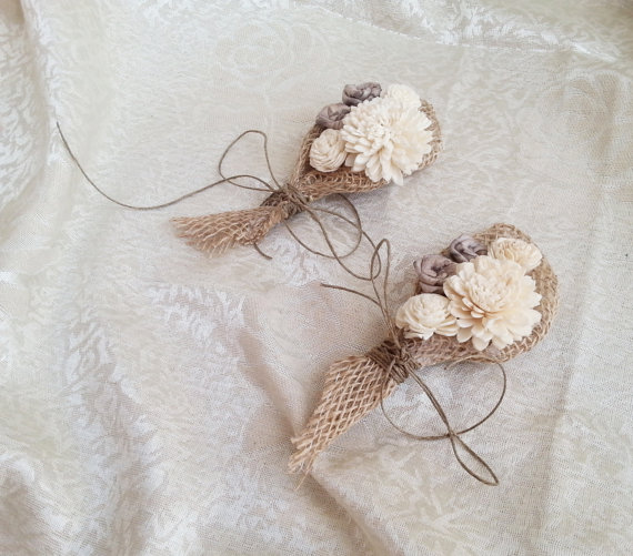 Cream Rustic Wedding Corsage Mother Of Bride Groom Boutonniere Sola Flower Flowers Custom