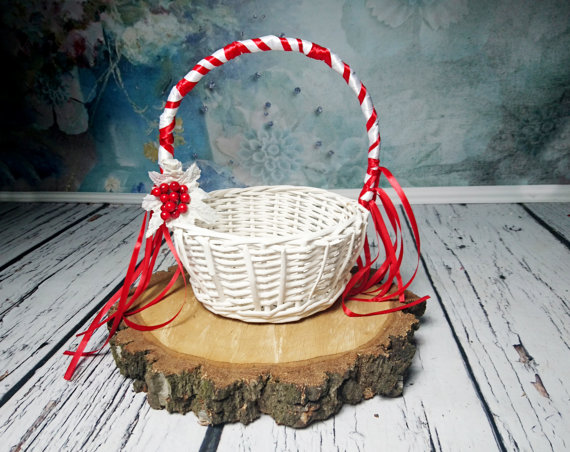 White and red flower girl basket winter wonderland woodland wedding white and red flower girl basket winter wonderland woodland wedding satin ribbon frozen leaves berries mightylinksfo