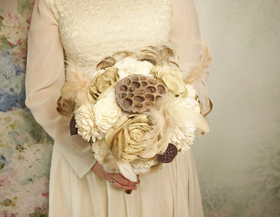 Wedding - READY to SHIP Cream brown rustic boho wedding BOUQUET Ivory Flowers natural feathers raw cotton sola roses dried lotos lace