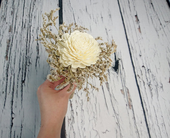 Wedding - Flowergirl wand cream rustic wedding Ivory Flower, dried limonium burlap handle, Flower girl, Bridesmaids, sola roses vintage custom
