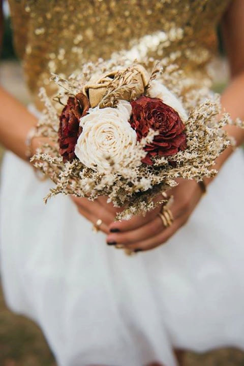 Small Burgundy Ivory Gold Rustic Wedding Bouquet Sola