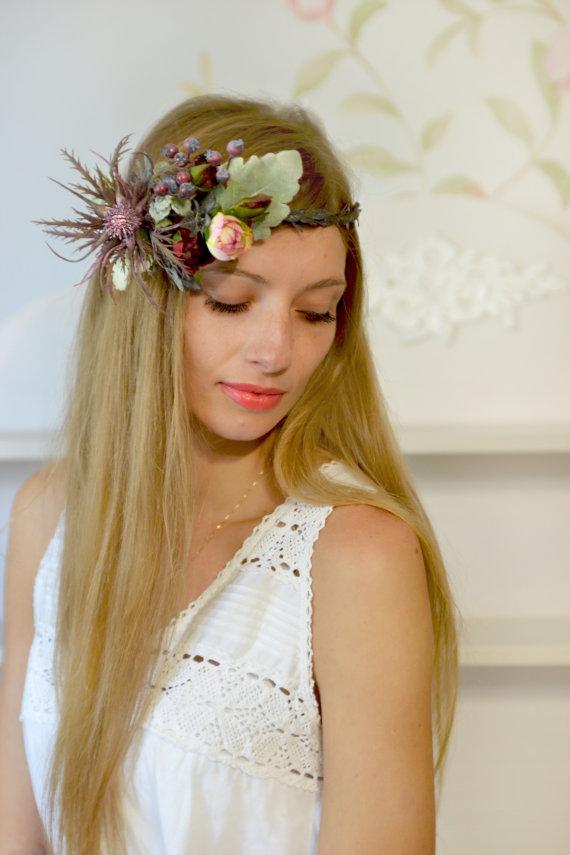 Свадьба - Floral crown Woodland wedding hair wreath Eryngium crown Fall bridal hair dress Flower crown Forest wedding headband Purple floral hair