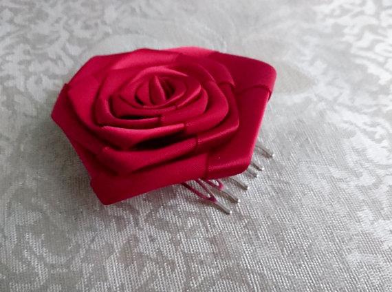 Wedding - Handmade rose satin hair comb clip dark red wedding prom accessory