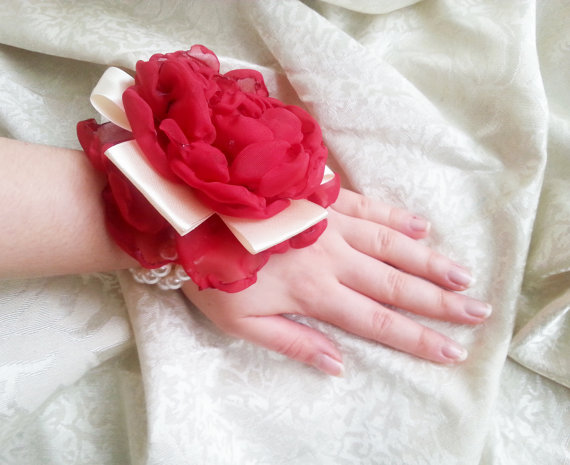 Wedding - Wrist Corsage, Red creme satin flower, bridesmaid Corsage hand made silk flower faux pearls bracelet