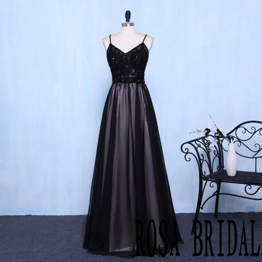 Свадьба - Spaghetti straps Black Bridesmaid Dress Lace Beading Blush Lining Custom Size color