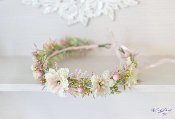 Свадьба - Blush Wedding flower crown Pastel bridal headpiece Pink gold bridal floral headband Pastel flower halo Wild flowers beads Boho wreath
