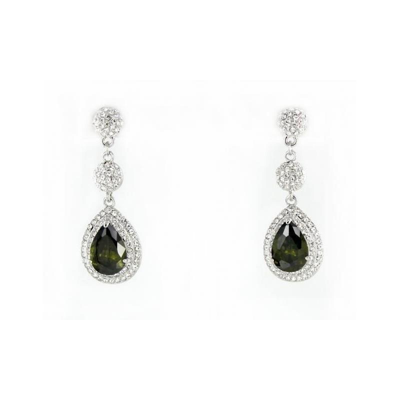 Свадьба - Helens Heart Earrings JE-E010033-S-Olivine Helen's Heart Earrings - Rich Your Wedding Day