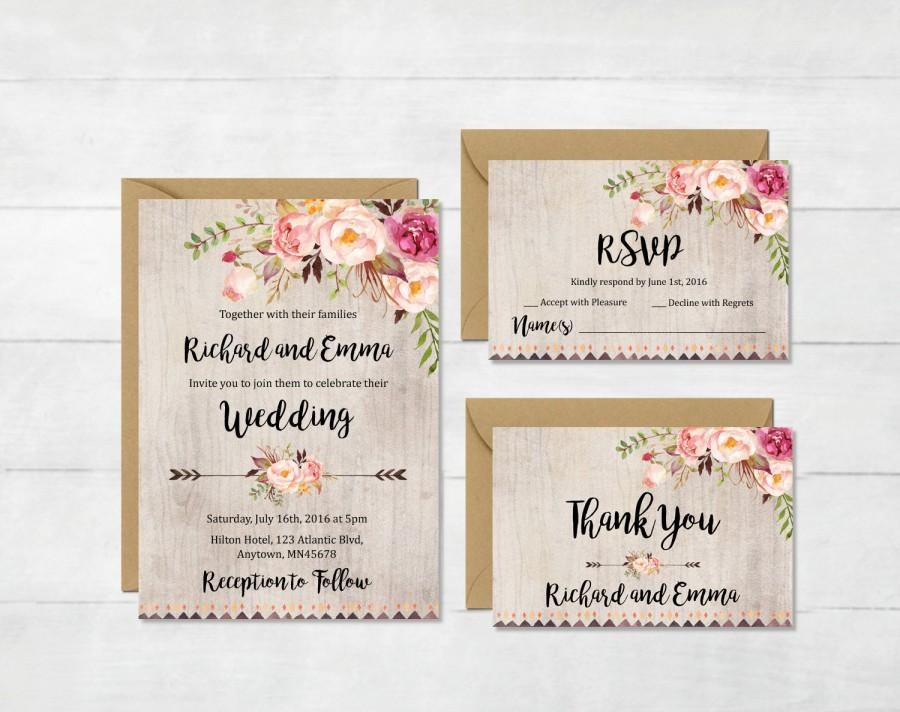 Wedding - Floral Boho Wedding Invitation Suite, Printable Boho Wedding Invite, Floral Rustic Wedding Invite, Peonies Wedding Invite, Download, 109-A