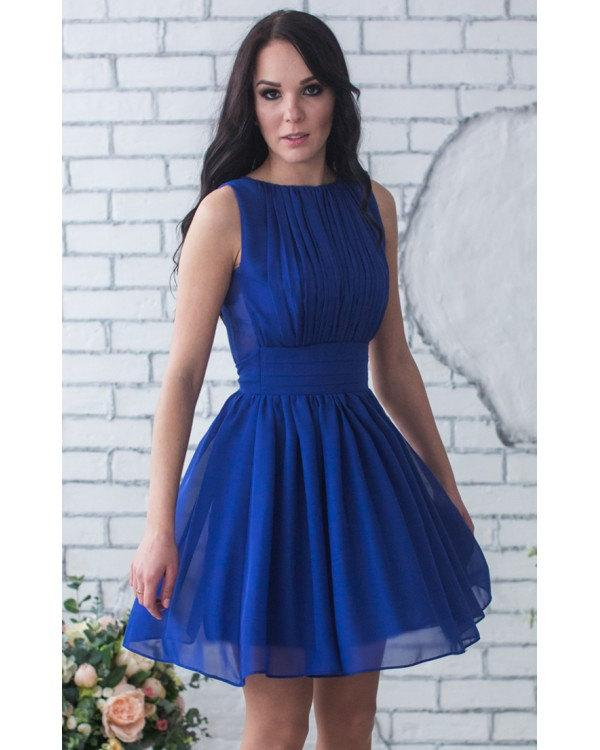 b427eedb8ad8 Cobalt Blue Short Royal Blue Chiffon Bridesmaid Dress Sleeveless Royal Blue  Dress Wedding Prom Party Dress Bright Blue