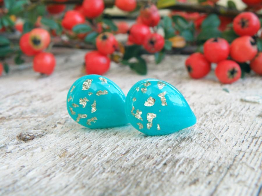 Свадьба - Teal earrings blue earrings gift for bestfriend christmas gift for wife bridesmaid gift bridesmaid earrings polymer clay stud earrings resin