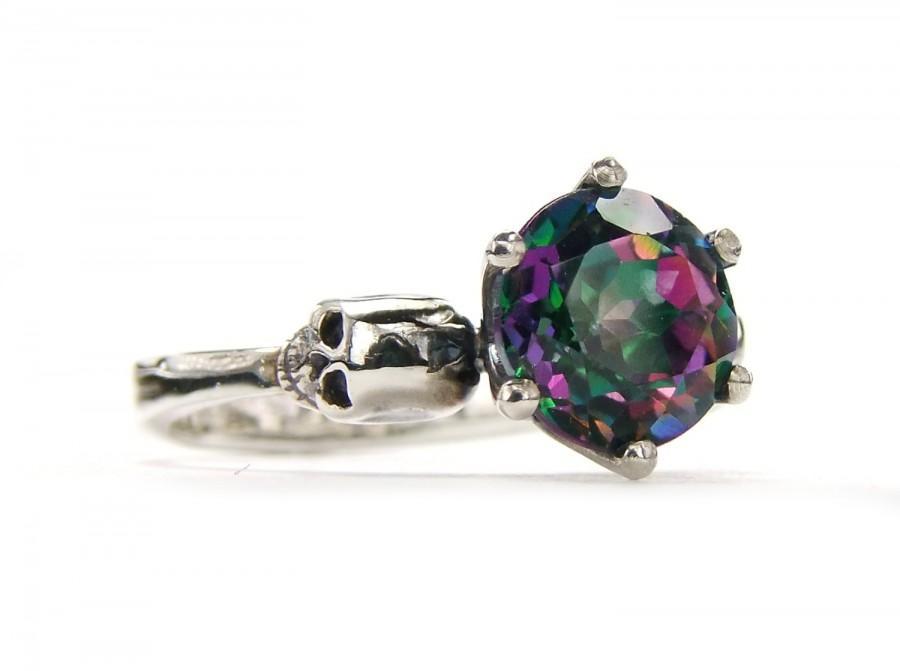 Свадьба - Bloody Valentines Gift Skull Ring Size 6.25 READY TO SHIP Mystic Topaz  Gothic Engagement Skull Ring Goth Jewel Ring Green Pink Skull Ring