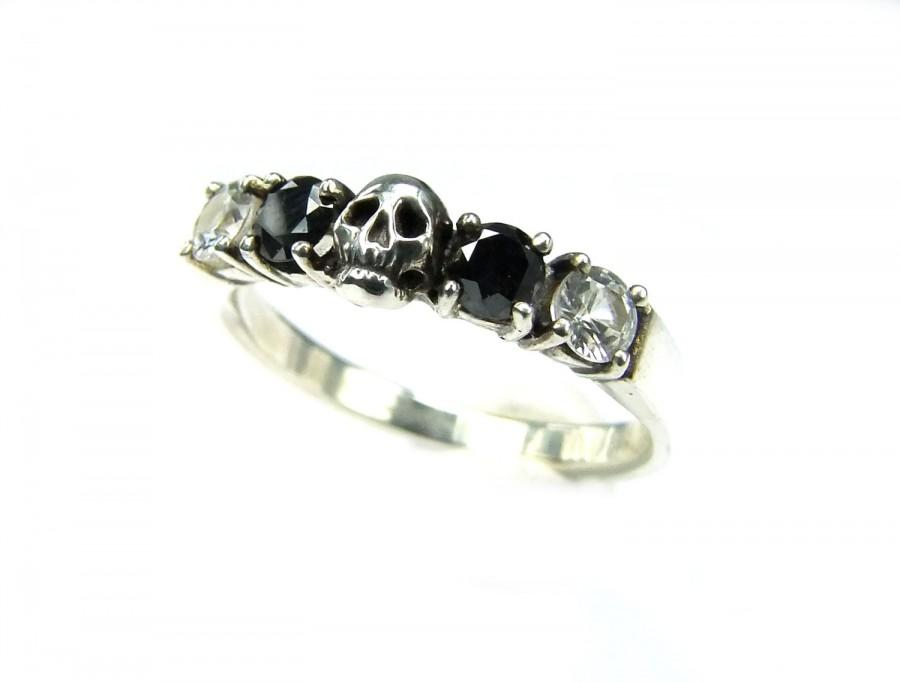 Skull Wedding Ring Size 4 5 Ready To Ship Black Diamond Sterling