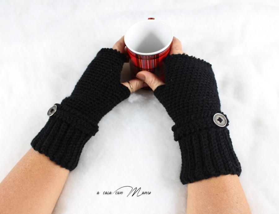 Hochzeit - Guanti in lana neri, gloves blacks wool, handmade crochet nero guanti senza dita, fingerless gloves, regalo per lei, black, made in Italy