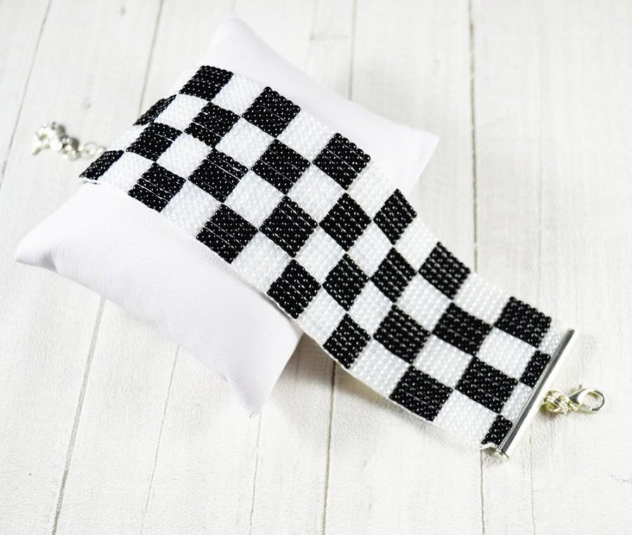 Bracelet Black And White , Checkerboard Pattern , Woven On A Loom ...