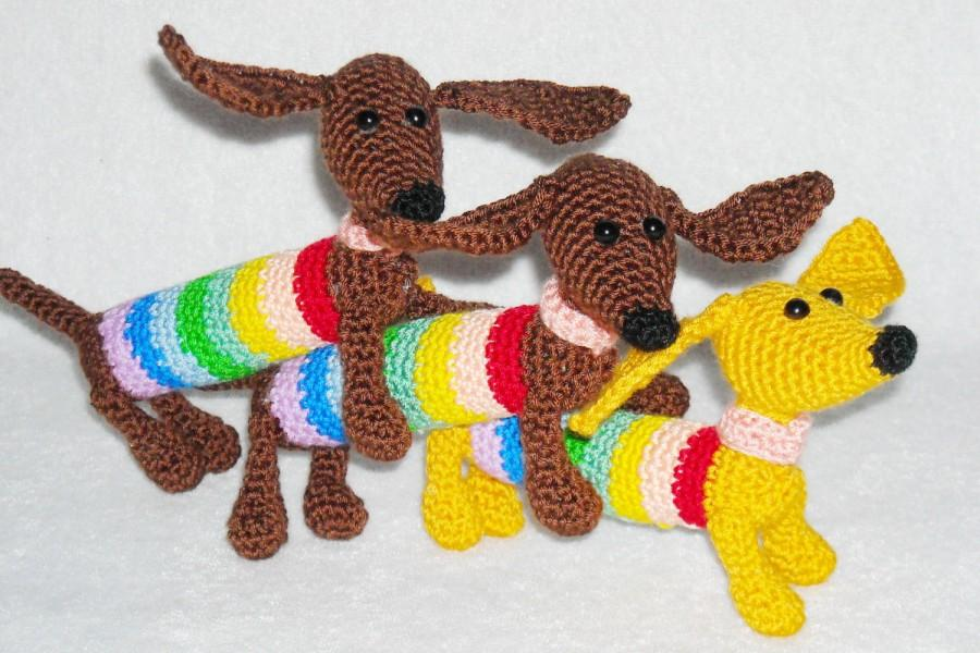 Amigurumi Crochet Keychain : Crochet dog amigurumi dexter the dachshund stuffed animal dog