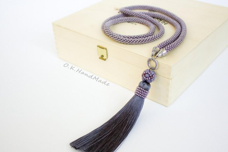 Long Tassel Necklace Tassel Necklace Beaded Necklace Long Beaded Necklace Idea For Her Women Day Boho Necklace Lilac Gray Women Gift Unique 2653206 Weddbook
