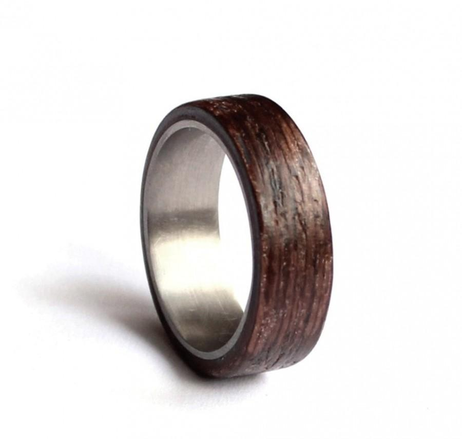 Stainless Steel Wedding Ring Mens Wedding Band Wood Mens Ring