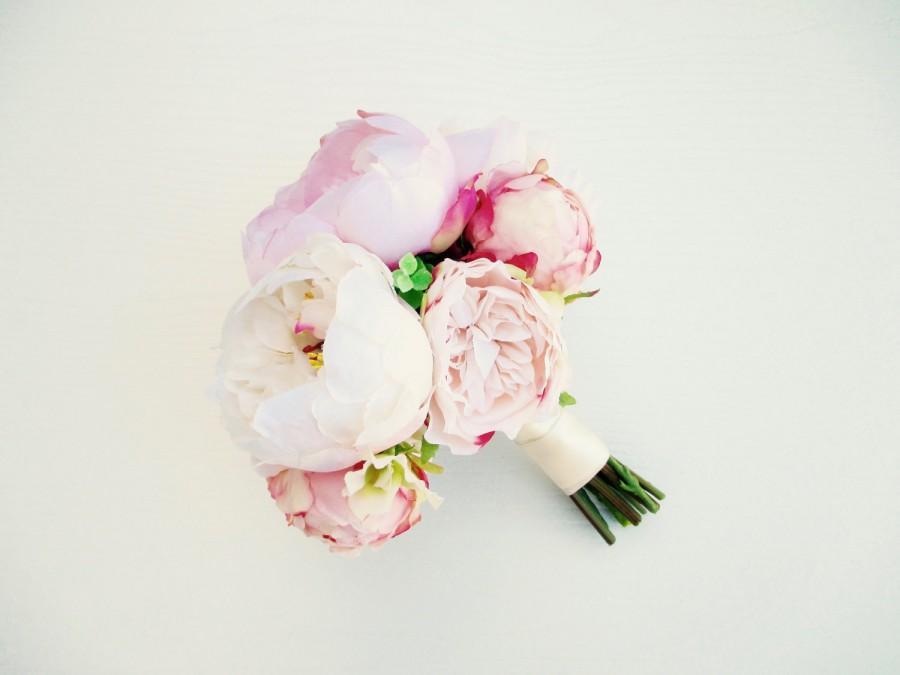 Wedding - Blush & White Peony Bridal Bouquet, Modern Bouquet, Blush Pink Wedding Bouquet, Silk Flowers, Peony Bouquet, Blush Peonies, Wedding Flowers