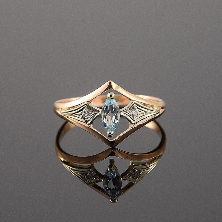 Mariage - Art Deco Ring, Gold Ring, Gemstone Ring, Geometric Ring, Promise Ring, Antique Ring, Birthstone Ring, Marquise Ring, Rose Gold Ring