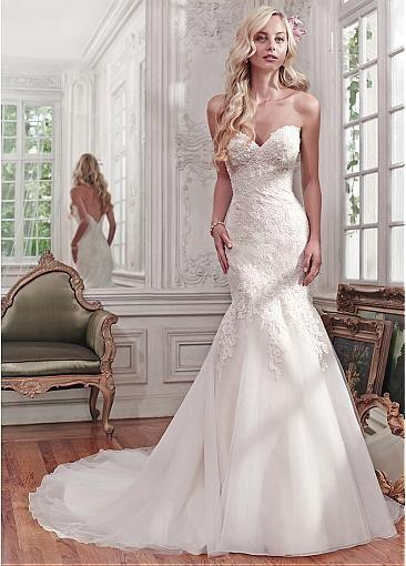 2296fbcbb079e [169.99] Alluring Tulle Sweetheart Neckline Mermaid Wedding Dresses With  Lace Appliques - Dressilyme.com
